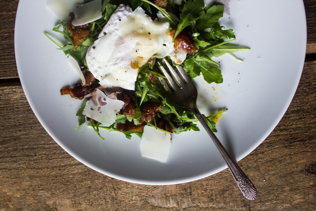 Arugula Salad With Wine Poached Eggs