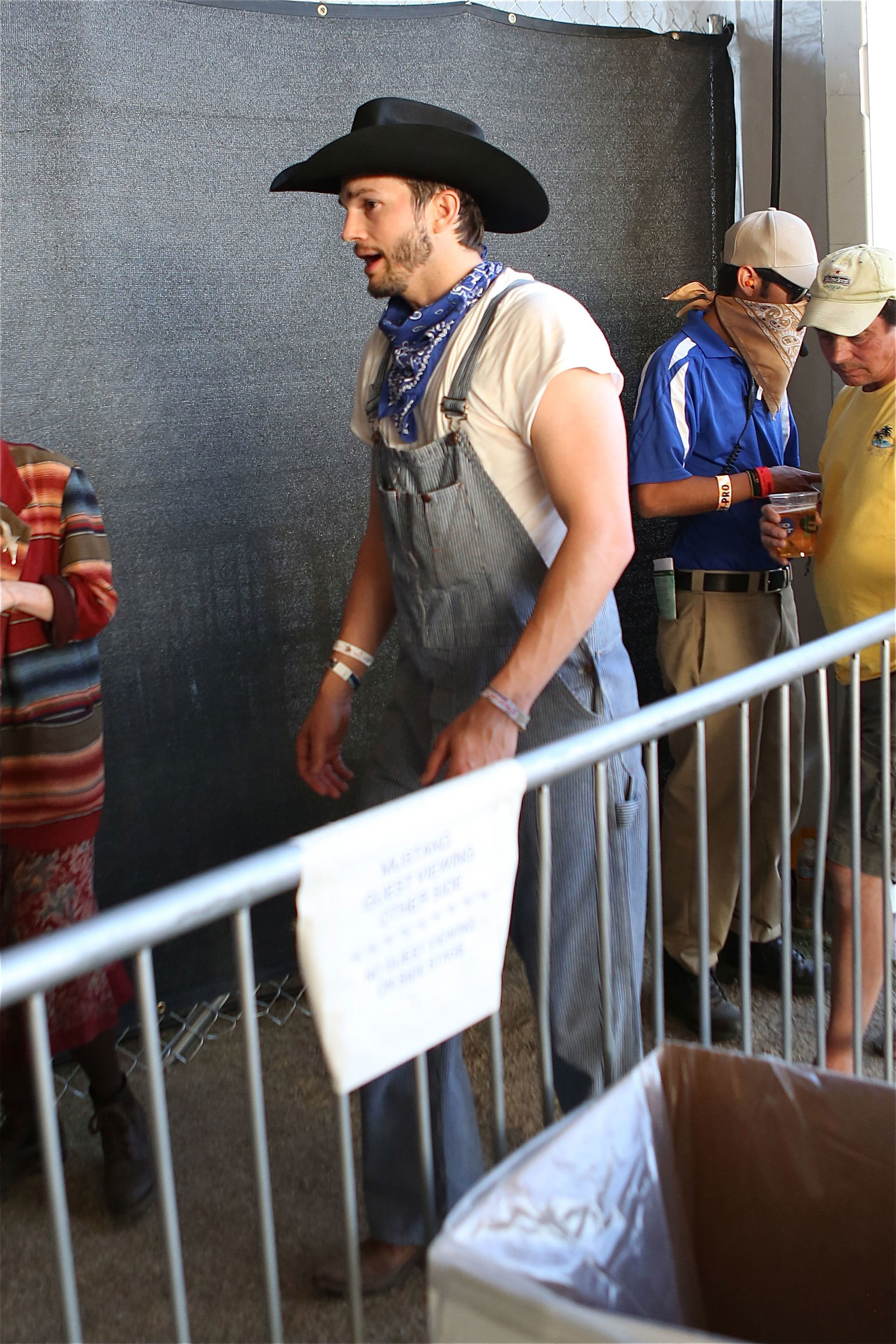 Ashton Kutcher's Farmer John Overalls at Stagecoach