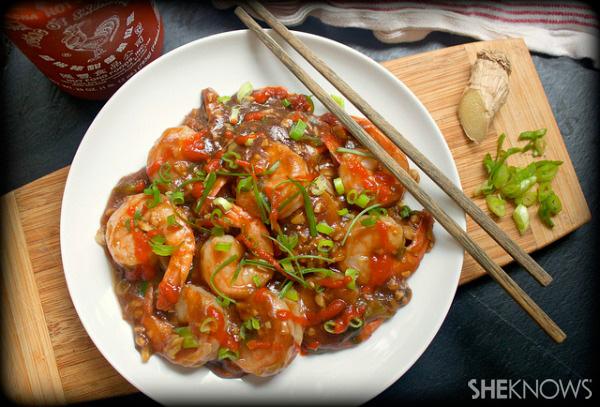 Pan-seared shrimp with sesame ginger sauce