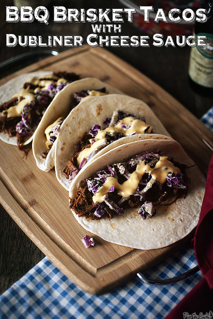 BBQ brisket tacos with dubliner cheese sauce