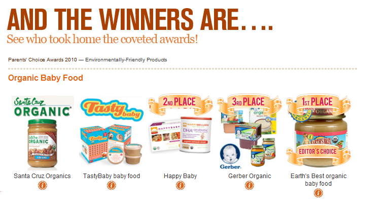 Organic Baby Food Winners