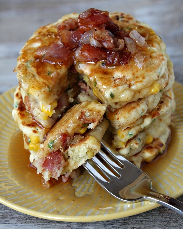 Bacon and corn pancake
