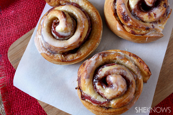 Bacon stuffed jumbo cinnamon rolls