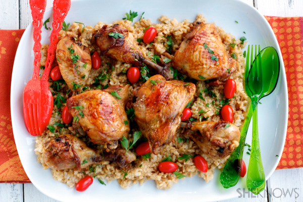 Baked lemon soy chicken and rice platter