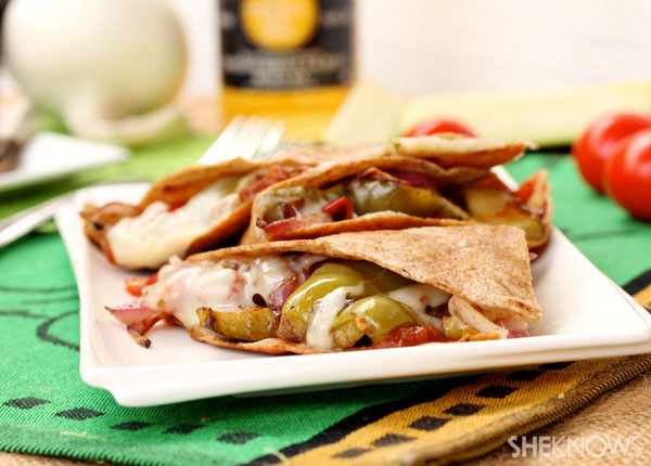 Balsamic roasted tomato and veggie quesadillas with jalapeno cheese