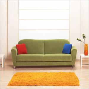 Beige room with maroon sofa