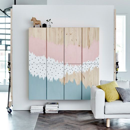 Best Ikea Hacks: paint a mural or cover with a graphic wallpaper.