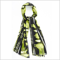 Black And Lime Printed Scarf