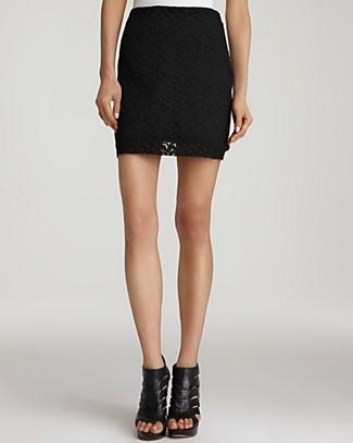 Aqua's black lace mini skirt