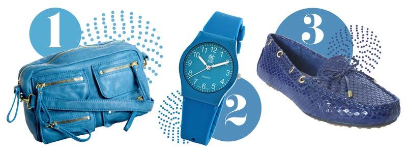 Blue accessories for spring: Blue handbag, blue watch, blue flats