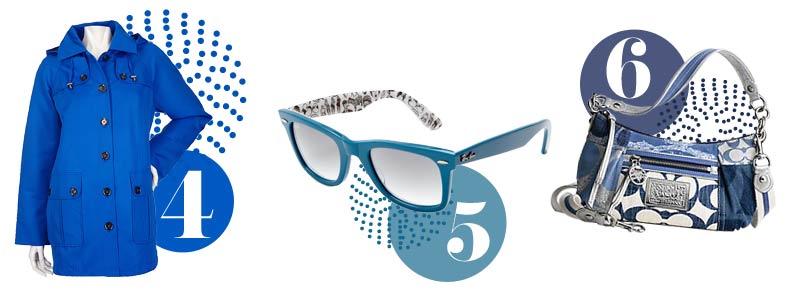 Blue accessories for spring: blue jacket, blue sunglasses, blue handbag