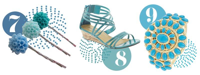 Blue accessories for spring: Blue hair accessories, blue sandals, blue bracelet