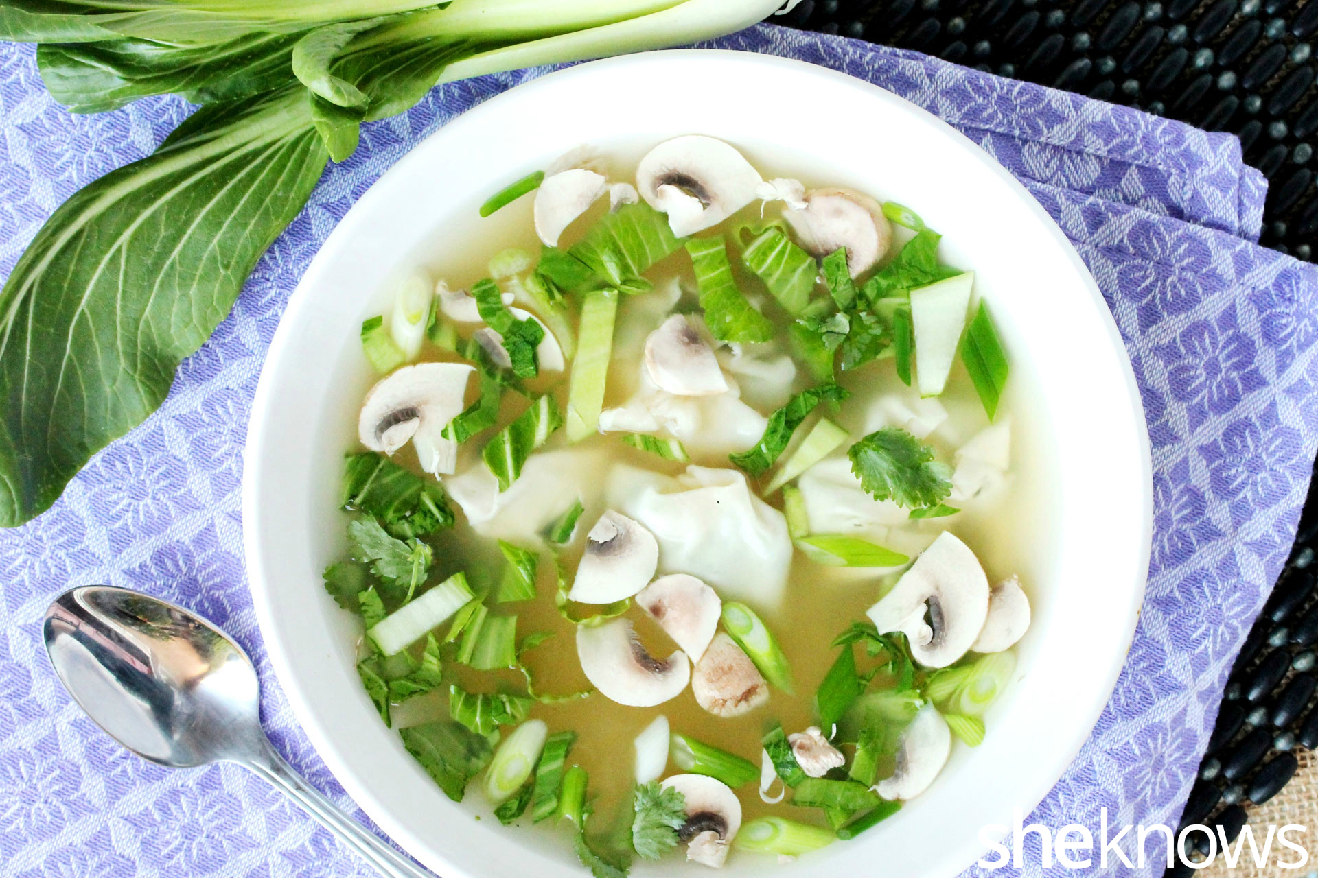 Bok choy won ton soup