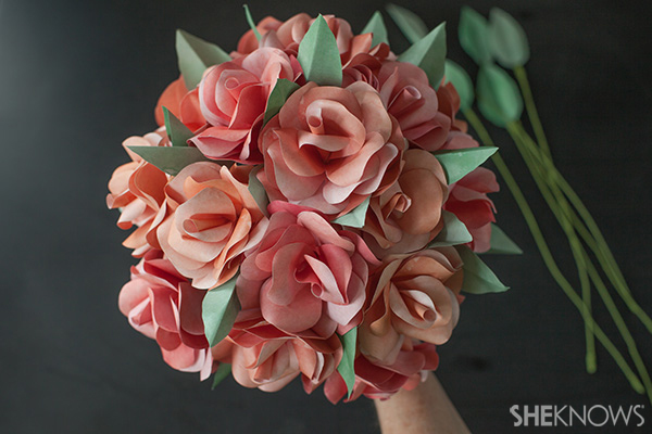 Continue assembling the paper rose brial bouquet