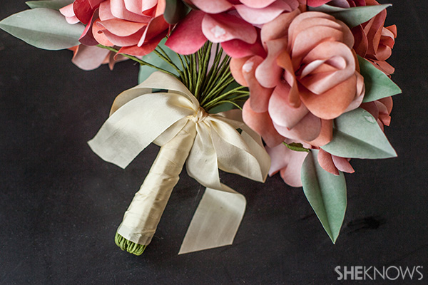 Finished DIY paper rose wedding bouquet