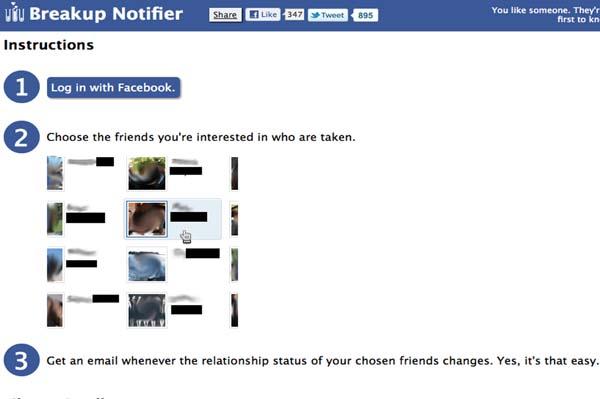 Facebook Breakup Notifier lets you keep tabs on friends