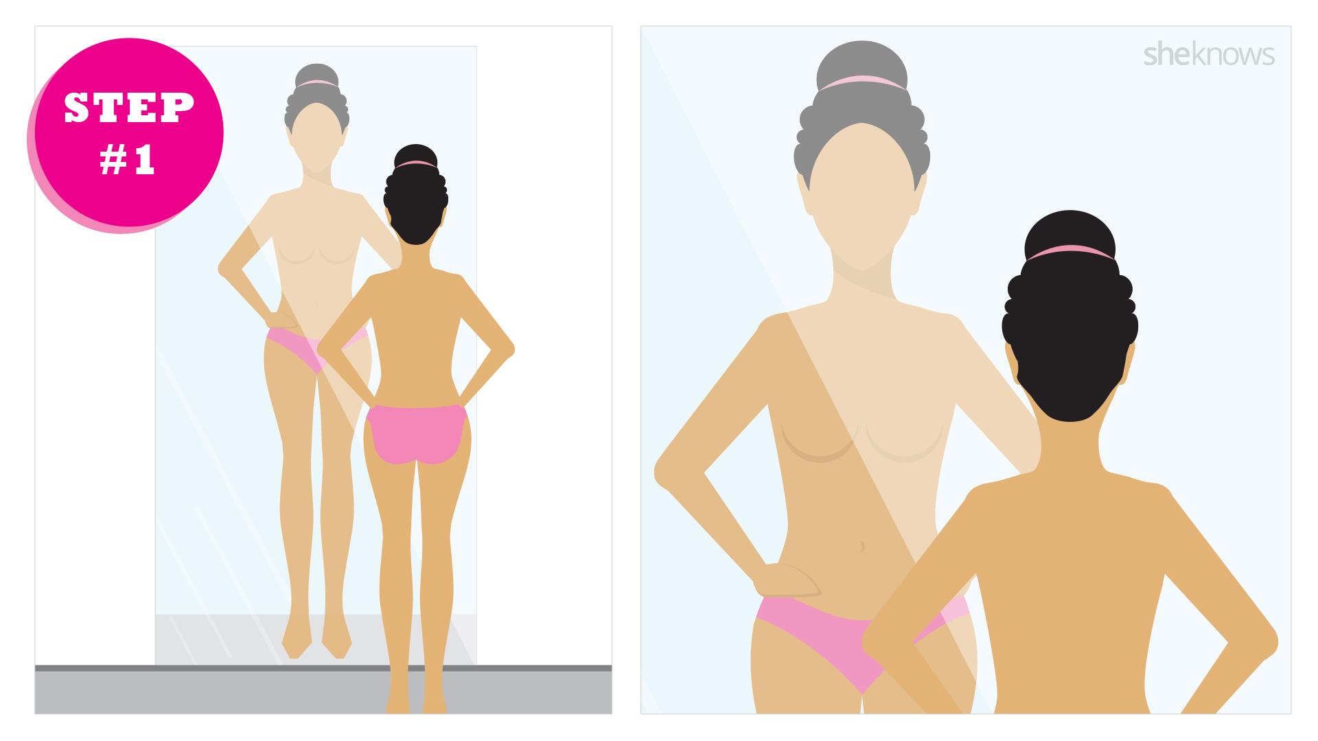 Breast self exam step 1