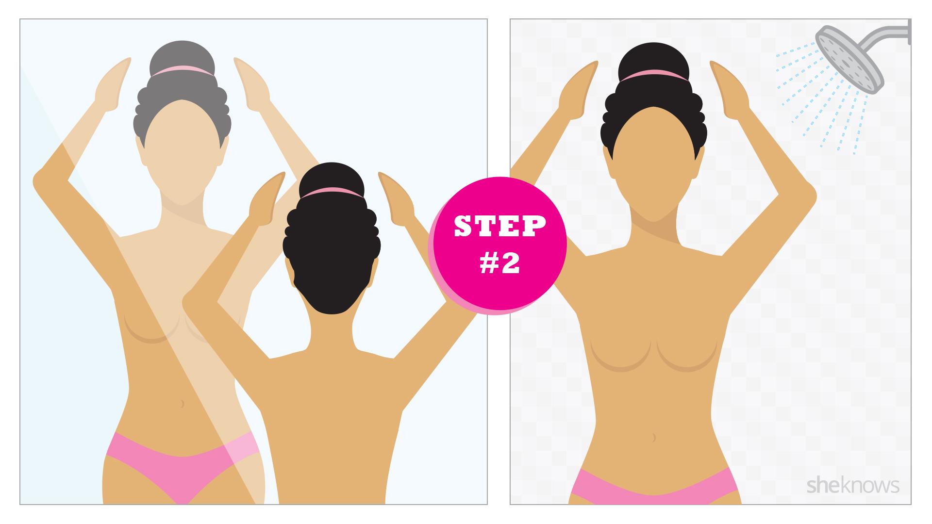 Breast self exam step 2