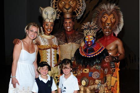 Britney Spears, Sean Preston and Jayden James see The Lion King in Las Vegas