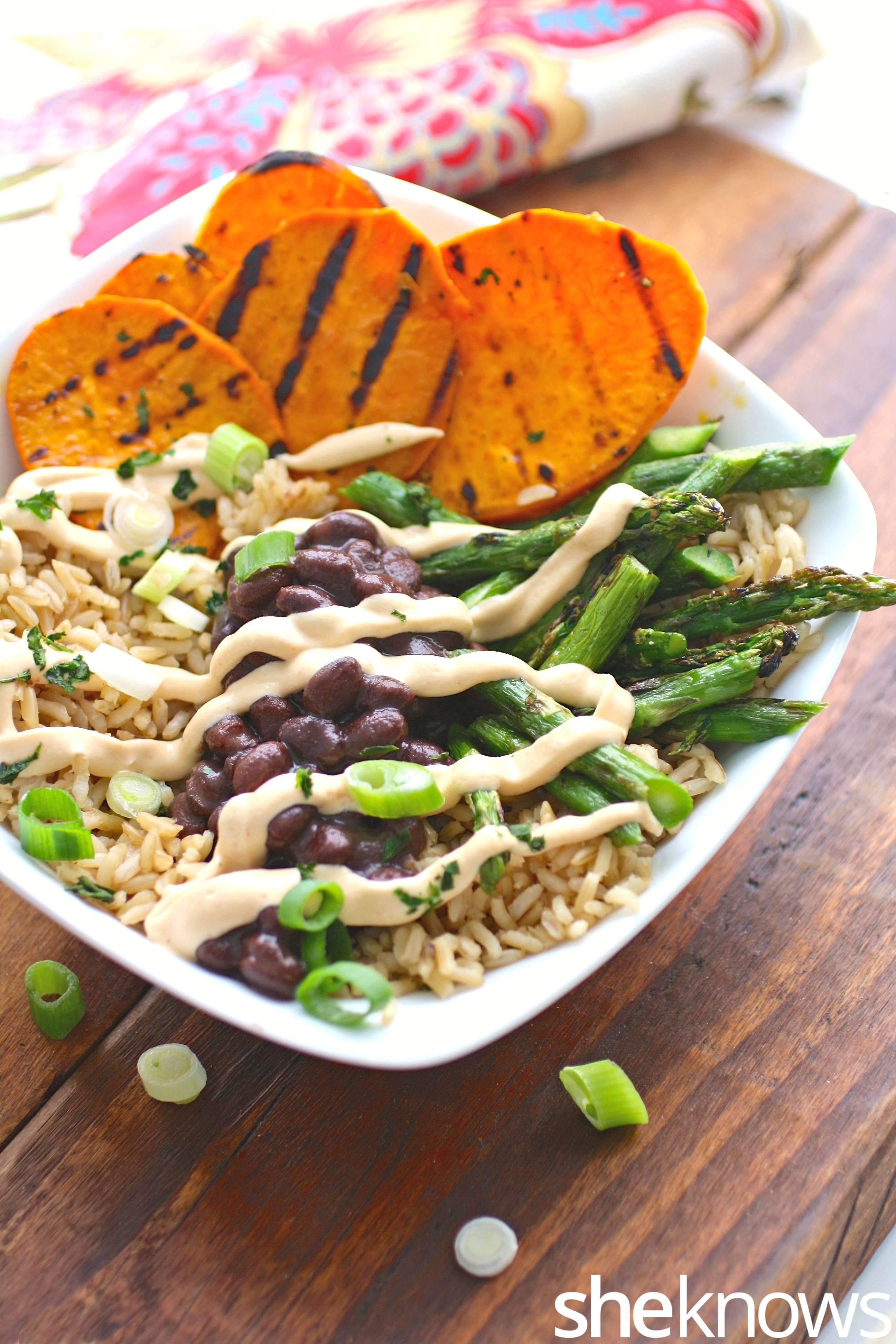 Brown-rice-bowls-grilled-sweet-potato-asparagus-cashew-cream