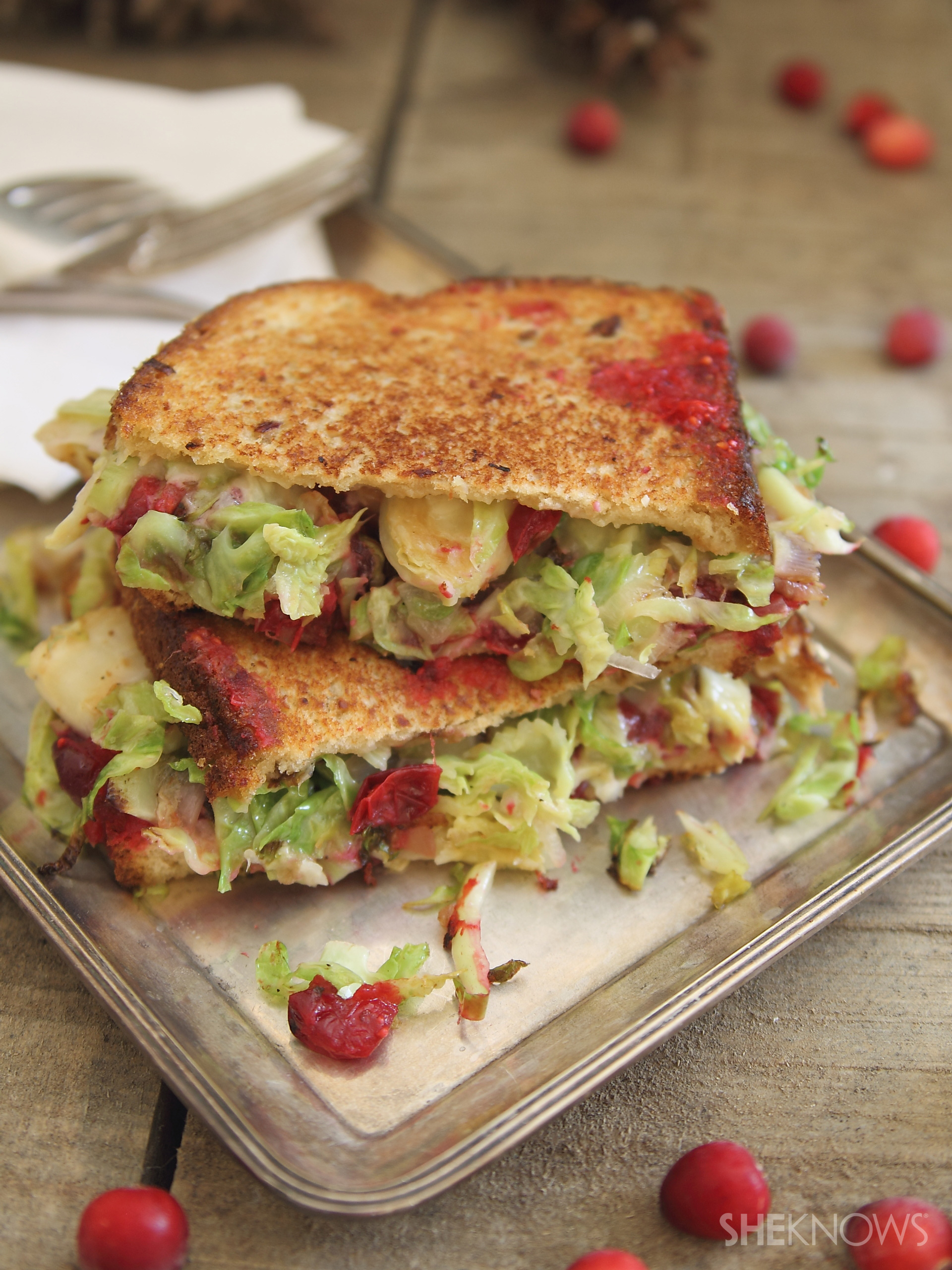 brussels sprouts cranberry grilled cheese