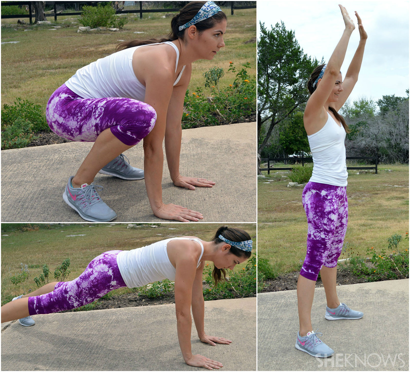 Burpees: 10 total repetitions