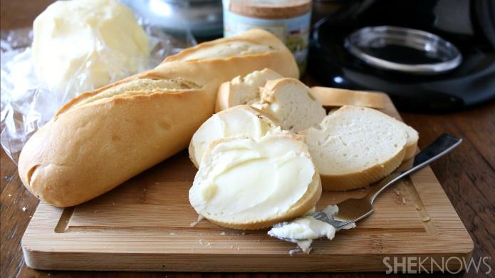 Fresh butter on bread