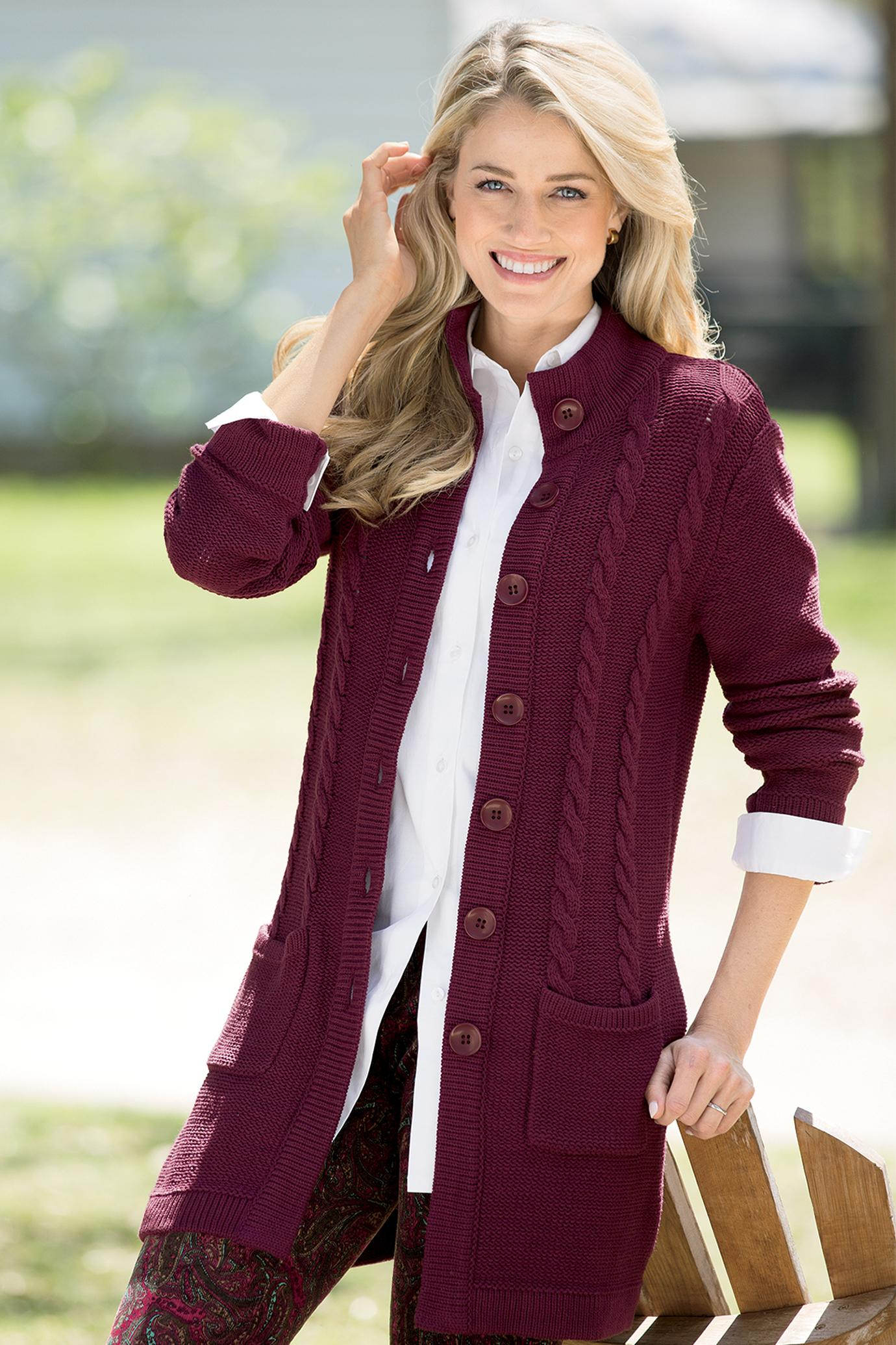 Cable Knit Sweater Coat in Deep Maroon