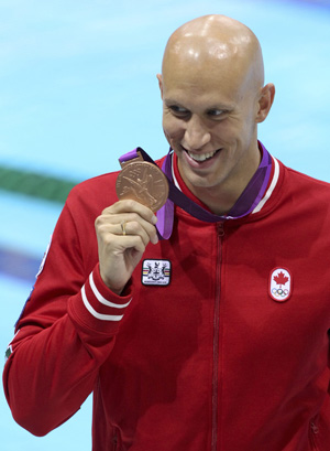 Brent Hayden wins bronze medal for Canada in men's 100m freestyle