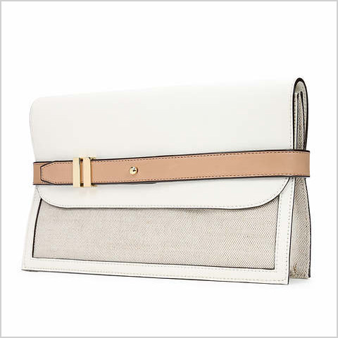 Canvas belted clutch