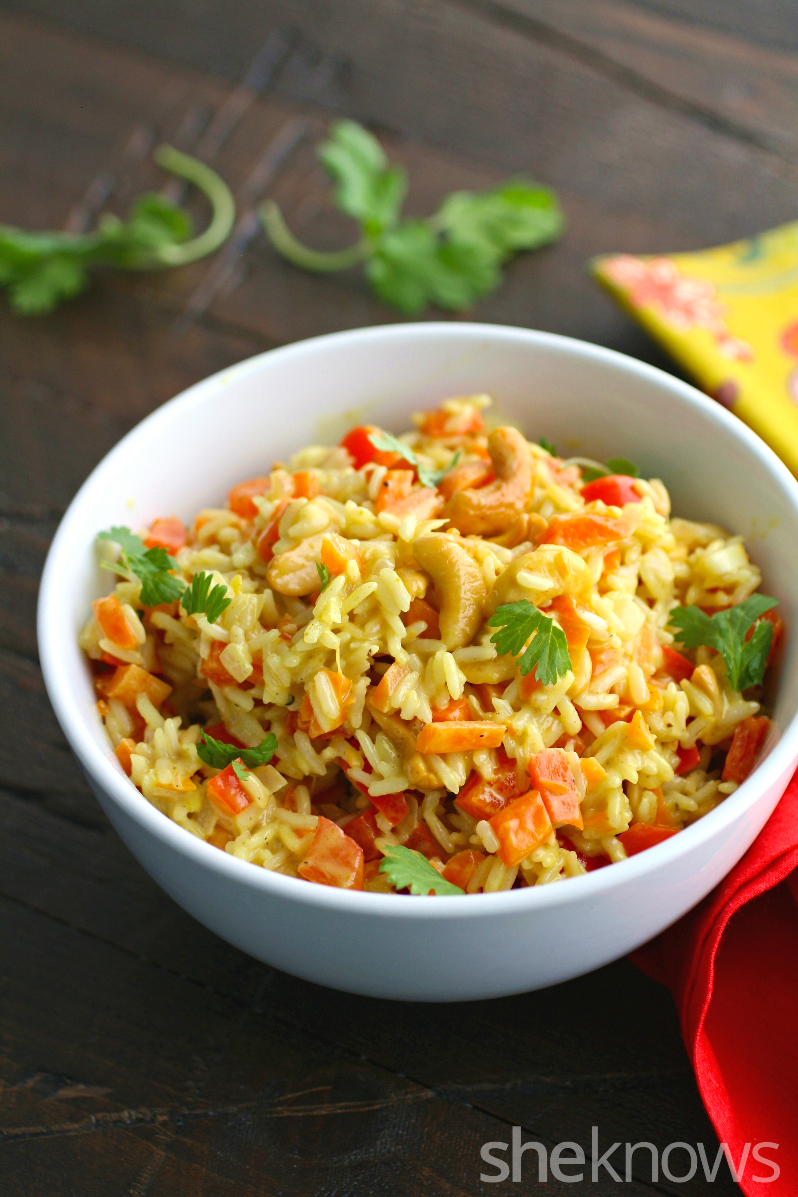 Carrot and cashew rice pilaf is creamy with a bit of crunch!