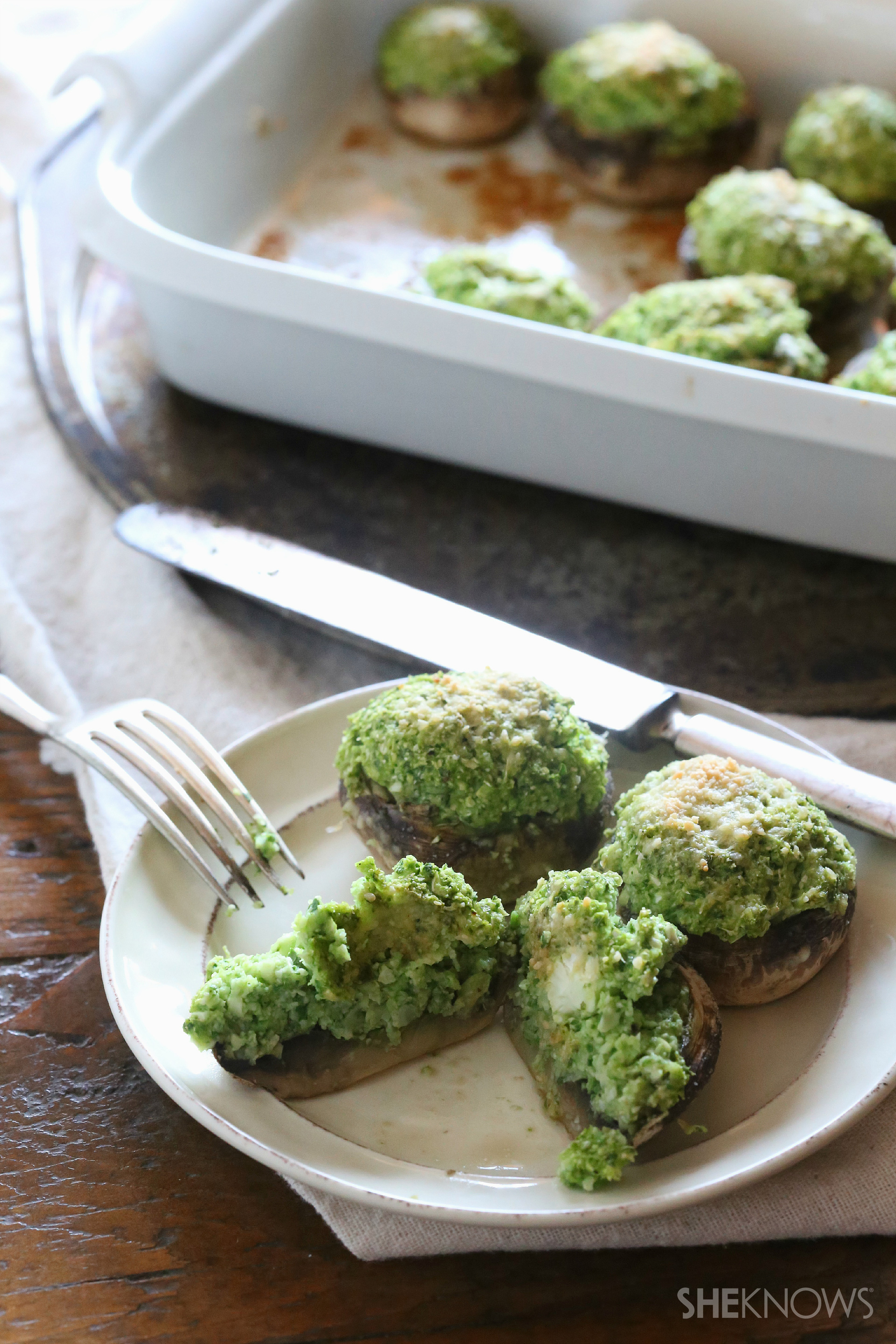 cauliflower-kale stuffed mushrooms