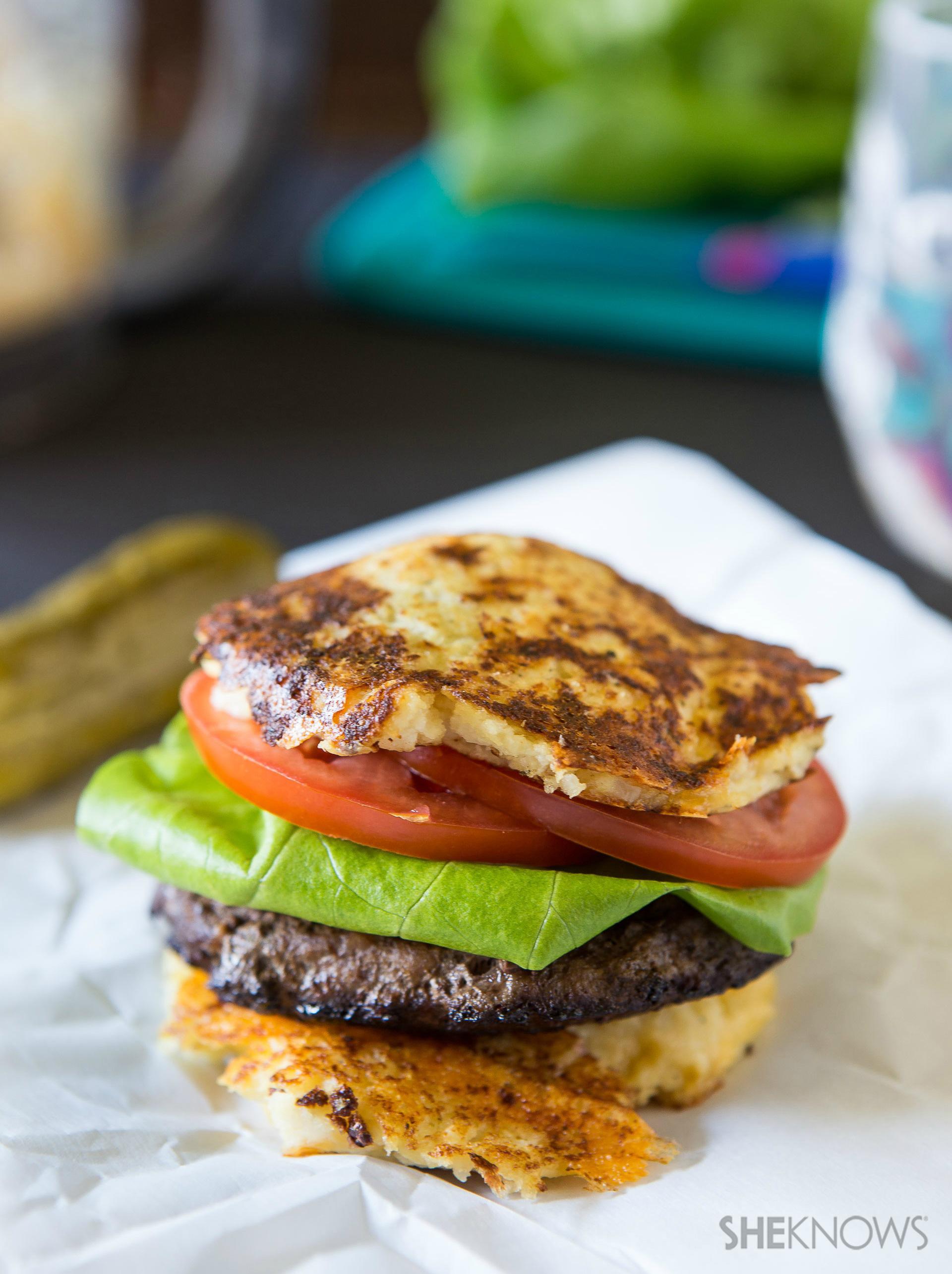 Cauliflower crusted burger