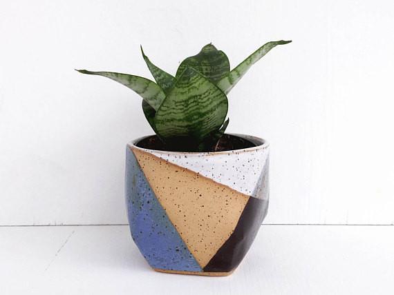 Best Planters on Etsy | Ceramic Planter Blue and Black