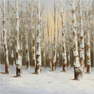 Birch sunrise painting
