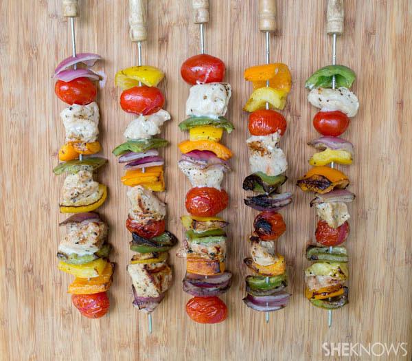 Chicken and summer vegetable kabobs