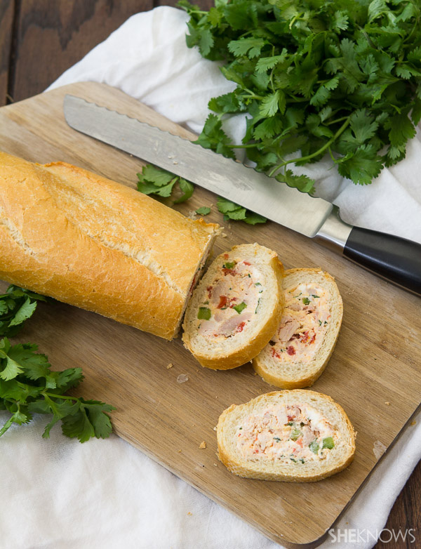 Chicken and vegetable stuffed baguette
