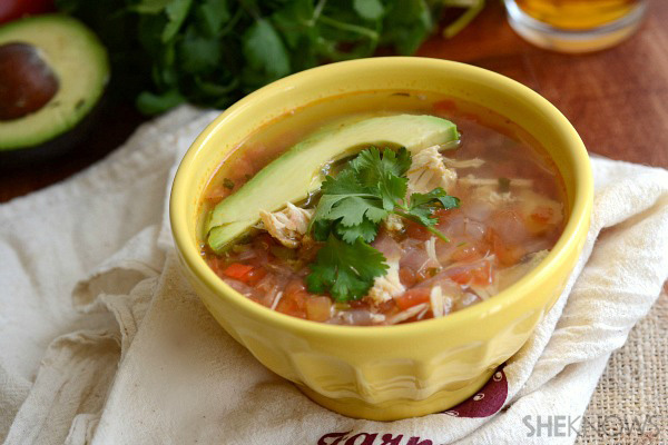 Boozy chicken & salsa soup with beer