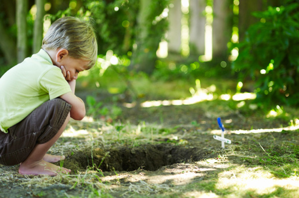 Child crouching over pets grave