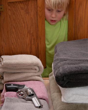 Child finding gun in the linen closet