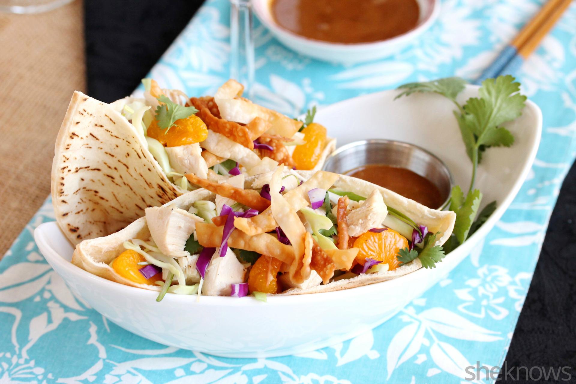 Chinese chicken salad pitas