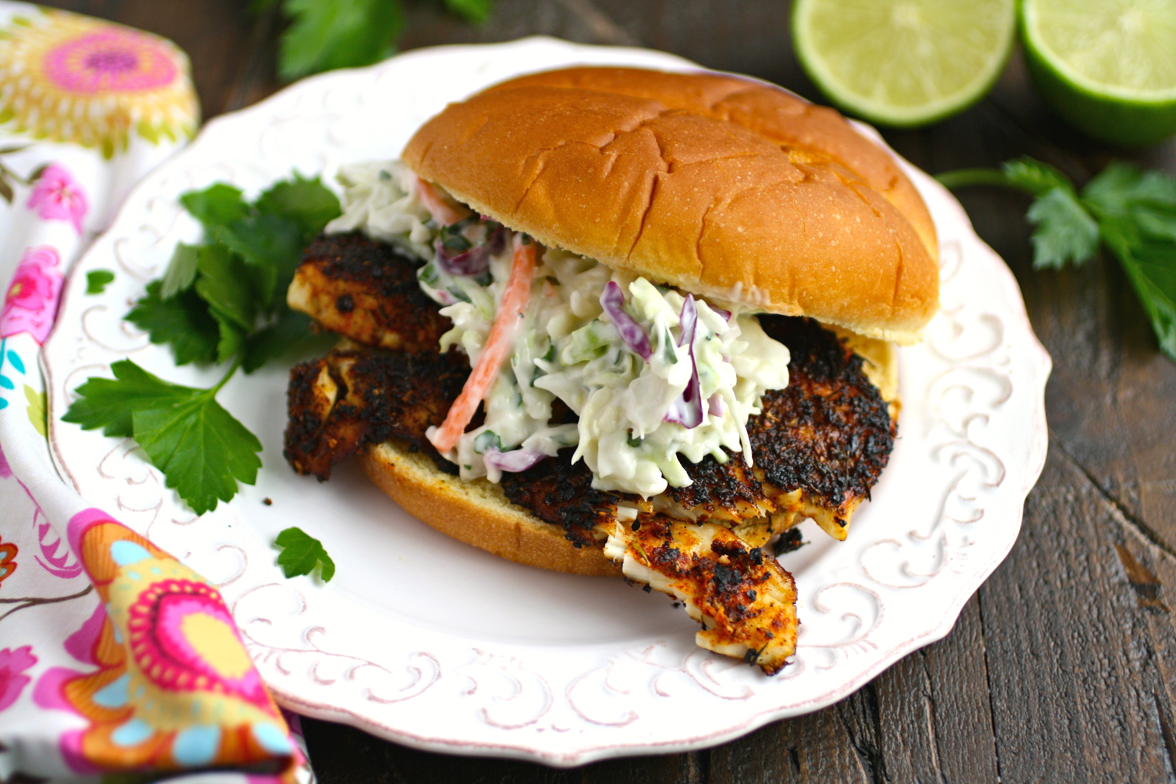 Blackened fish sandwiches with cilantro slaw is quite a catch for dinner!