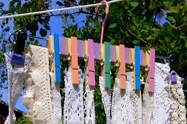 Clothes hanger hack for hanging lace