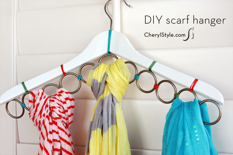 Clothes hanger hack for scarf storage