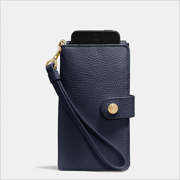 Coach Phone Clutch in Pebble Leather