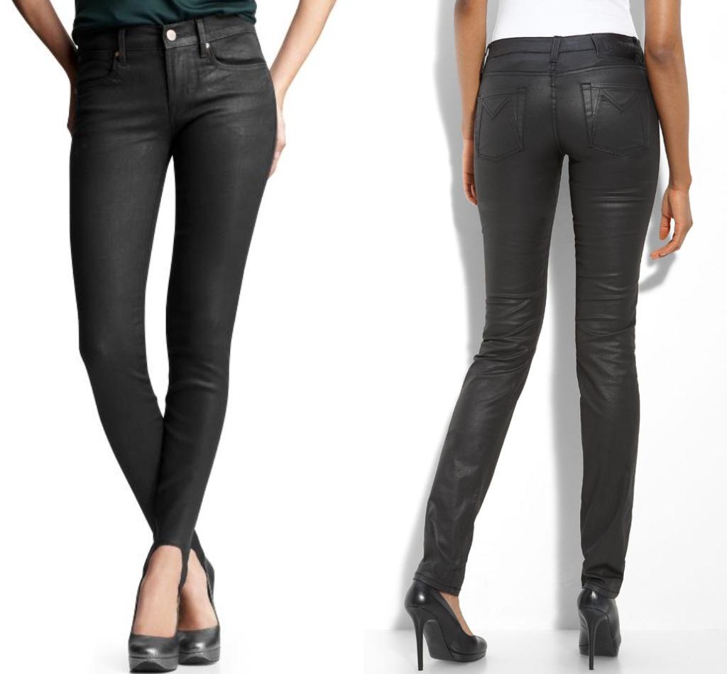 coated denim jeans leggings