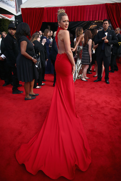 Colbie Caillat red Grammys dress