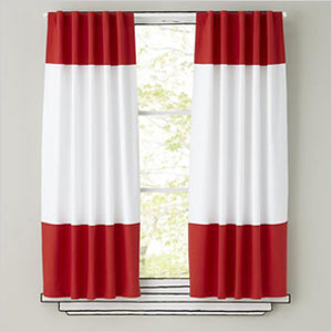 Color Edge Curtain Panels in Red
