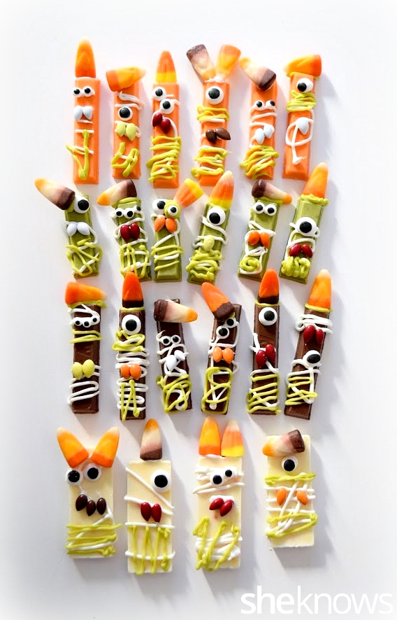 Halloween Monsters Made from Kit Kats