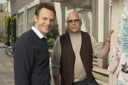 Joel McHale and Chevy Chase